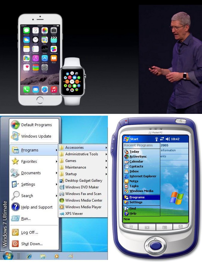 'Look familiar?,' James Allworth asked. This photo montage compares how the 'app paradigm' mistakenly followed from iOS to the Apple Watch, somewhat analogous to Microsoft's failed attempt at taking Windows and scaling it down for their first mobile offerings.