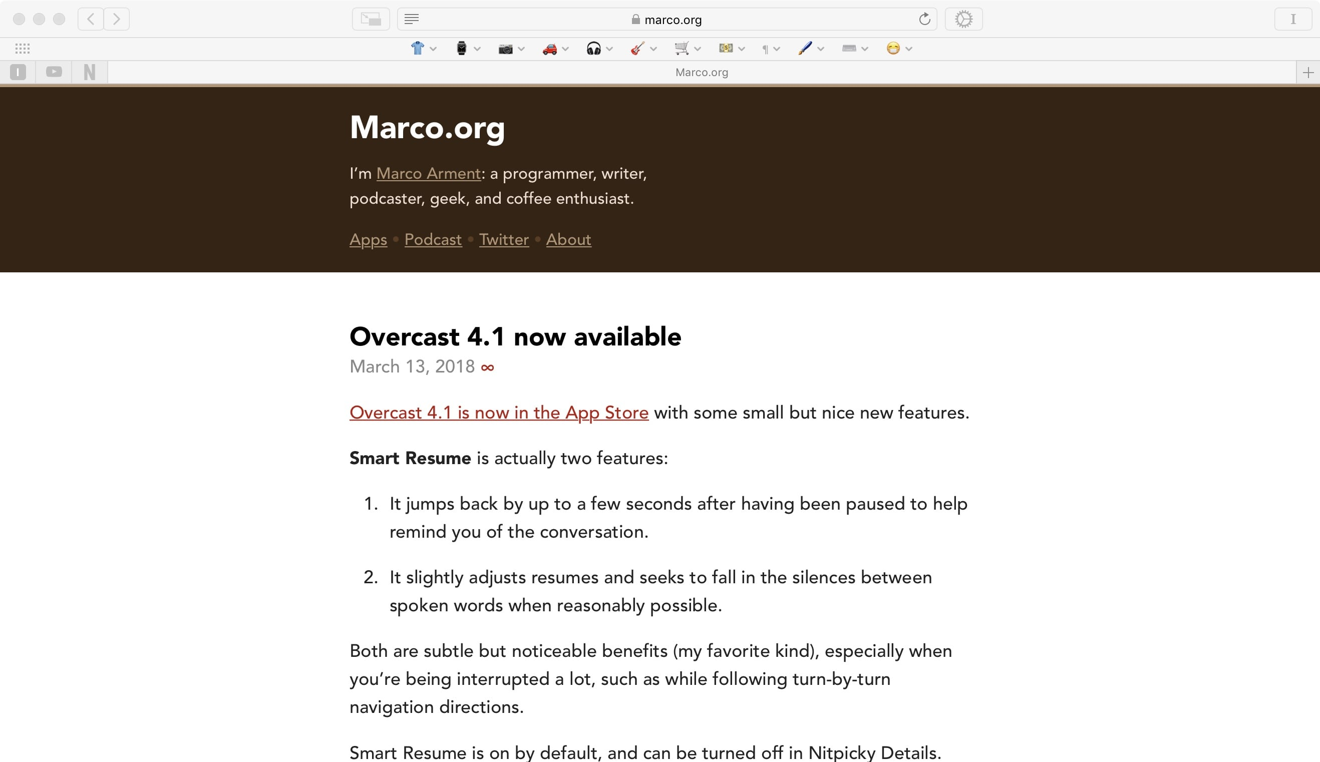 With specific Marco.org blacklisting. See how the title text is now vertically centered in the brown masthead? That's because I made the masthead 'taller.' (Probably would have been better if Marco used `display: flex;` in this situation, but what do I know?)