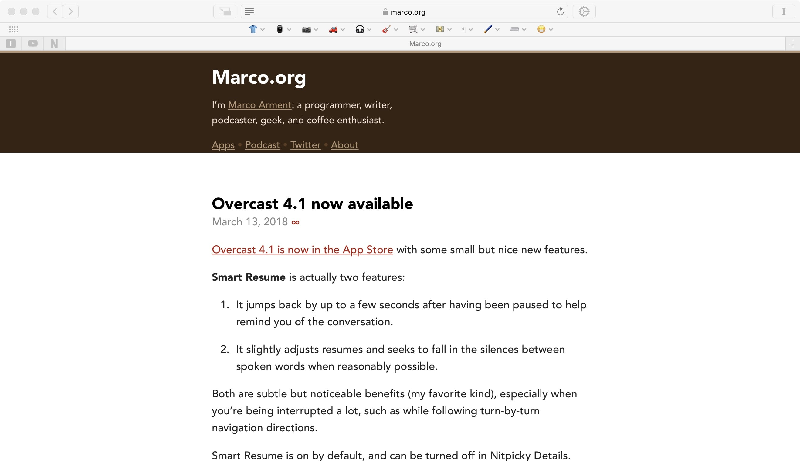 Without specific Marco.org blacklisting. See how the title text isn't vertically centered in the brown masthead?